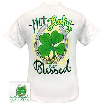 Girlie Girl Originals Preppy Not Lucky Just Blessed Shamrock Irish T-Shirt