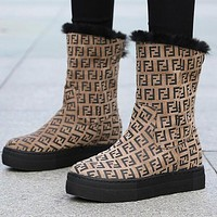 FENDI Winter Fashion Women F Letter Warm Wool Thick Sole Snow Boots Khaki