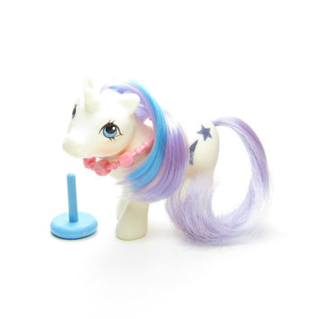 Baby Glory My Little Pony Vintage G1 White Unicorn with Purple & Blue Hair, Necklace