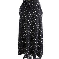 Vintage Agnes B Black White Polka Dot Wrap Skirt