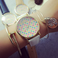 PU Leather Belt Round Dial Quartz Watch with Polka Dots Print