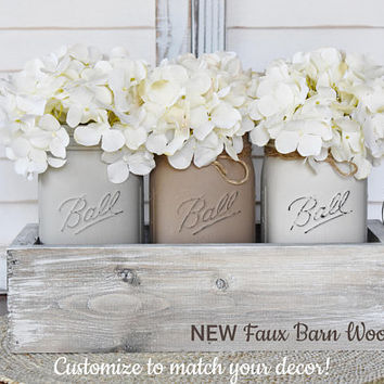 Rustic Mason Jar Centerpiece, Farmhouse Decor, Rustic Decor, Barn Wood Box Decor, Distressed Painted Jars, Country Cottage Mason Jars Decor