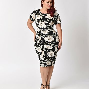 Unique Vintage Plus Size 1960s Style Black & Ivory Floral Short Sleeve Stretch Mod Wiggle Dress