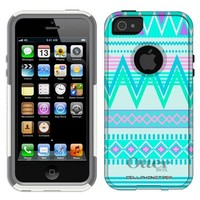 Otterbox Commuter Aztec Andes Tribal White and Teal Case for iPhone 5
