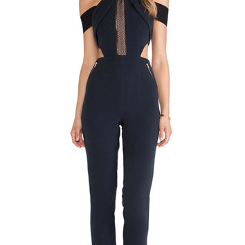 self-portrait Chained-Up Jumpsuit in Navy
