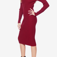 Ladies Knit Crewneck Midi Dress