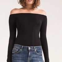 The L/S Ribbed Off the Shoulder Top