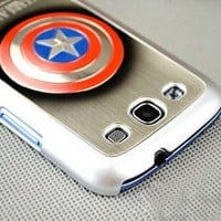 PhoneAdventures 3D Captain America (The First Avenger) Plastic Metal Hard Case Cover for Galaxy S3