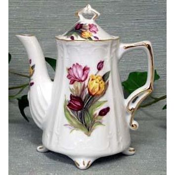 Antique Footed Tulips Porcelain Teapot