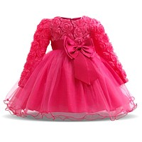 Girl Dresses Christening Gown Infants Dress Floral Bow Baby Princess Dress for Baby Girl Clothes