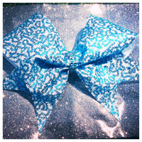 Large Teal Sequin and Rhinestone Cheer Bow September Bow of the Month