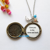 I love you to the moon and back Necklace ,moon and star locket necklace,Mom Gift ,Mother Daughter Necklace ,Wife Gift ,Stars Necklace
