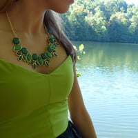 Emerald Green Beaded Bib Statement Bubble Necklace with Gold Setting and Green Earrings, Green Bubble Necklace Circle and Oval Necklace