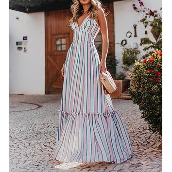 2020 women's new arrival suspender striped backless dress