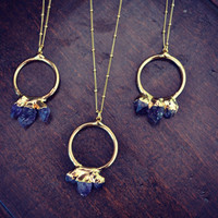 AMETHYST MOUNTAIN /// Gemstone Gold Electroformed Necklace