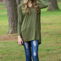 The Perfect Piko V-Neck Tunic Top-Natural Olive