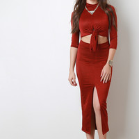 Knotted Mock Neck Cut Out Dress
