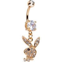 Licensed Black Gem Eye Rose Gold Plated Playboy Bunny Dangle Belly Ring | Body Candy Body Jewelry