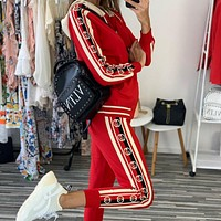 GUCCI New Popular Women Casual Round Collar Top Pants Set Two-Piece red