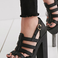 Caged Faux Leather Platform