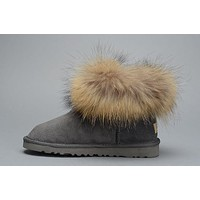 Ugg Fox Fur 5854 Metallic Classic Mini Gray Boot Snow Boots #7