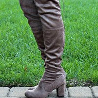 Tall Order Taupe Knee High Boots