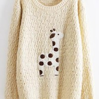 Beige Super Adorable Cartoon Giraffe Loose Sweater