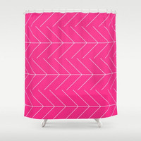 Shower Curtain Pink White Arrows Design Pattern Home Bath Room  Decor