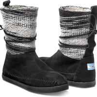 BLACK WOOL STRIPE WOMEN'S NEPAL BOOTS