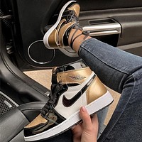 NIKE Air Jordan 1 ASG AJ1 Patent Leather North Carolina sports casual shoes