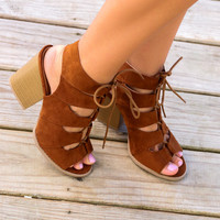 Only You Rust Cutout Gladiator Heel