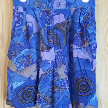 Vintage 80s silk abstract wide leg high waisted walking shorts size 10
