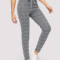 Knot Waist Glen Plaid Cigarette Pants