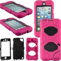 iPod Touch 5 case, ULAK® Heavy Duty Shock-Proof Sport Outdoor Case Cover Belt Clip for Apple iPod Touch 5 5th (Rose Pink)