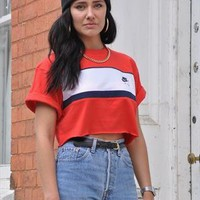 Retro 90's DeadStock Red Nike Sport ibiza Crop Top 1844 from Gone Retro