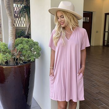 Nonstop Pink Jersey Shift Dress With Pockets