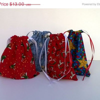 SALE 4 Fabric Gift Bags for Christmas Upcycled, Reusable Angels, Stars, Snowmen, Rocking Horses