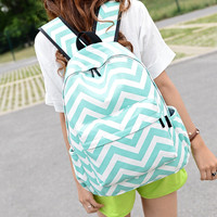 Wave Stripe Casual Laptop Bag Shoulder Bag School Backpack Travel Bag
