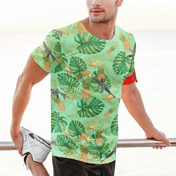 Pineapples and Carbines Hawaiian Print Men's Graphic T-shirt