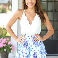 Ask Me Anything Romper - Blue