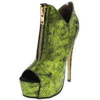 Peep Toe Booties - Green Reptile Peep Toe Booties