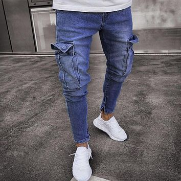Men Clothes 2018 Skinny Jeans Mens Stretch Denim Pant Distressed Ripped Freyed Slim Fit Pocket Jeans Trousers Drop Shipping