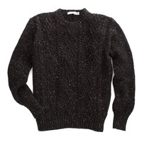 Inis Meain Liamhan Fisherman's Cable Crewneck in Charcoal Donegal