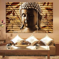 Luxry 3pieces Classical Buddha Painting Solemn Buddhism Wall Canvas Art Asian Religion Ancient Picture For House Decoration No F