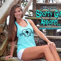 teal mint aqua colored womens fishing tank top, this fishing clothing is decorated with black glitter heart fishing pole and sailfish