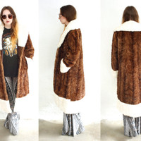 Vintage 60s WAVY MINK Fur Two Tone Oversized Maxi Coat Jacket // Brown White Cream // Hippie Gypsy Bohemian // Small / Medium / Large