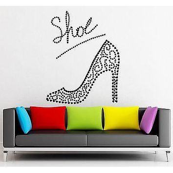 Wall Sticker Vinyl Decal Beautiful Ladies Shoe Fashion Shopping Glamour Unique Gift (ig1842)