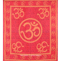 Queen Size Red Hindu OM Sign Cotton Tie Dye Tapestry Wall Hanging on RoyalFurnish.com