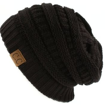 Trendy Warm Chunky Soft Stretch Cable Knit Slouchy Beanie Skully, Rust, One Size