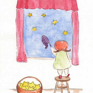 Original watercolor Painting - Girl wishes upon a star - Whimsical Nursery Children Baby Art Room Deco